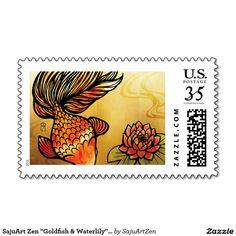 """SajuArt Zen """"Goldfish & Waterlily"""" Postage Stamp"""