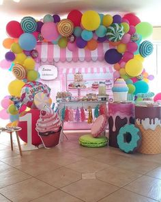 Candyland Birthday Party Table See Candy Theme Birthday Party, Candy Land Theme, Lollipop Party, Candy Party, First Birthday Parties, Birthday Party Decorations, First Birthdays, Happy Birthday, Girls Birthday Party Themes
