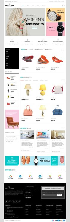 HappyStore – Furniture & Interior Bootstrap Template is a clean and elegant design – suitable for selling electronics, clothing, flower or any type of eCommerce store. #htm5themes #onlinestore