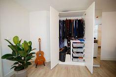 Walk In Closet Dimensions, Storing Clothes, Living Room Shelves, Wall Shelves, Make A Plan, Built In Wardrobe, Closet Space, Door Design, Wardrobes