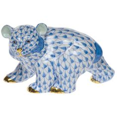 Herend Hand Painted Porcelain Figurine of Baby Bear Walking, Blue Fishnet w Gold Accents.