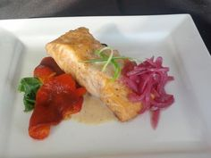 Acadian Maple & Ginger Braised Atlantic Salmon - Chef Jeff Wiper, The Galley Restaurant Canadian Recipes, Canadian Food, Dinner Ideas, Dinner Recipes, Atlantic Salmon, Pickled Onions, What's For Breakfast, Fish And Seafood, Seafood Recipes