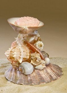 Seashell art, bird cottages and other crafts. Seashell Candles, Seashell Ornaments, Seashell Art, Seashell Crafts, Beach Crafts, Shells And Sand, Sea Shells, Rock Crafts, Diy Arts And Crafts