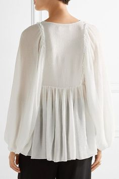 Chloé | Guipure lace-trimmed stretch-silk mousseline blouse | NET-A-PORTER.COM