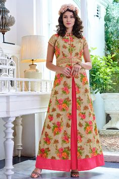 #Cream multicoloured & mithai #pink pure #cotton #silk #gown makes the wearer look tall and mesmeric and full of #glamour, this gown can be worn on any #function which can give you a glamorous #look #Indian #designer #fashion #fancy #trendy #flower #Floral #concept #new #arrival #sale #online #shopping #casual #party #festive #collection2015