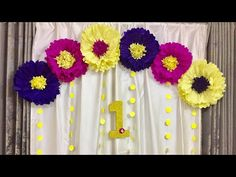 Wall Decor Ideas For Birthday Tissue Paper Flowers Easy, Hanging Paper Flowers, Paper Flower Backdrop, Giant Paper Flowers, Paper Roses, Craft Flowers, Birthday Wall Decoration, Birthday Decorations At Home, Easy Party Decorations