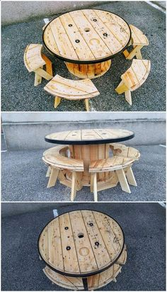 Amazing Shed Plans - Pallet and Cable Reel Round Table and Benches Now You Can Build ANY Shed In A Weekend Even If You've Zero Woodworking Experience! Start building amazing sheds the easier way with a collection of shed plans! Wooden Pallet Projects, Wooden Pallet Furniture, Wooden Pallets, Wooden Diy, Diy Furniture, Office Furniture, Recycled Furniture, Furniture Storage, Pallet Ideas