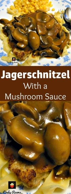 Jagerschnitzel! This is a lovely easy recipe for pork or chicken pan fried in butter then topped with a delicious mushroom sauce. Very popular In parts of Germany and often served with Spaetzle or pasta.  | Lovefoodies.com