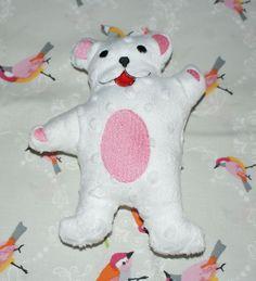 Doudou nounours rose tout doux pour les bébés, brodé à la machine