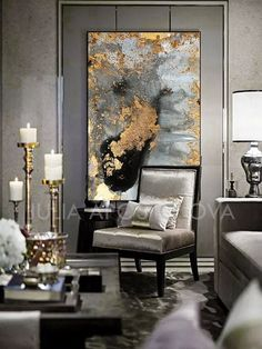 Grey and Gold Wall Art, Black Gold Canvas Reproduction of Watercolor Contemporary Gold Leaf Abstract Painting, Wall Art Canvas, Modern Decor - Contemporary Art Black Wall Art, Gold Wall Art, Large Wall Art, Large Art, Gold Walls, Black Walls, Black Ceiling, Contemporary Decor, Modern Decor
