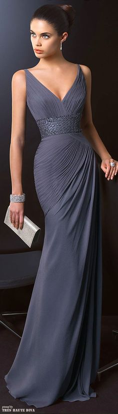 Long Dark Grey Chiffon Evening Gown