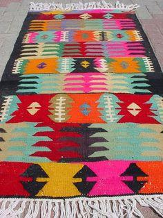VINTAGE Turkish Kilim Area Rug Carpet Handwoven Kilim by sofART, $149.00