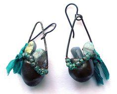 Rustic Earthy Earrings Natural Semi-Precious by SheFliesAgain