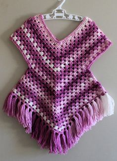Addicted 2 the hook Poncho Sweater Infant to size 1 H/ Hook 300 – 500 yards of yarn I used Ice Yarns magic light G. Crochet Baby Poncho, Crochet Girls, Crochet Woman, Crochet Shawl, Crochet Yarn, Free Crochet, Sewing Stitches, How To Make Clothes, Poncho Sweater