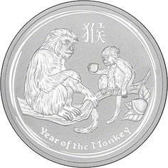 2016 Australian Year of the Monkey Five Ounce Silver Coin - Series 2 Reverse. Minted by the Perth Mint