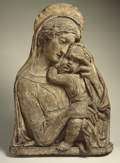 Madonna and Child Workshop of Donatello (Italian, Florence ca. 1386–1466 Florence) Date: 15th century or later, after ca. 1450 model Culture: Italian (Florence) Medium: Terracotta, polychromed Dimensions: H. 29 in. (73.7 cm.); W. 20 1/2 in. (52.1 cm.) Classification: Sculpture
