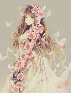 Garota Anime Fofa-Flores Lindas *3*
