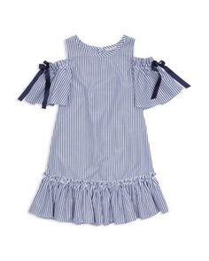 Habitual Kids Habitual Girls' Nancy Cold-Shoulder Striped Dress - Little Kid Kids Dress Wear, Baby Dress, Toddler Girl Dresses, Girls Dresses, Toddler Girls, Simple Dresses, Casual Dresses, Stylish Dress Designs, Girl Outfits