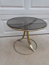 Vintage Brass Mid Century Modern Round Smoked Tinted Glass End...