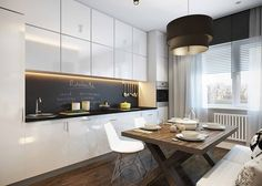 Apartments White Cabinetry Kitchen Cabinet Kitchen Island Wooden Flooring Wooden Table Chair Cushion Curtain Chandelier Ceilling A Classy Studio Apartment Stylish Design