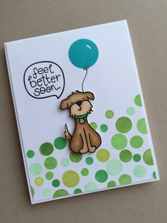 Get well card featuring Lawn Fawn and Essentials by Ellen Bokeh Dots by Julie