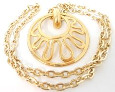 Vintage Signed Sarah Coventry Pendant Necklace Circle Abstract Design - ET208. $15.00, via Etsy.