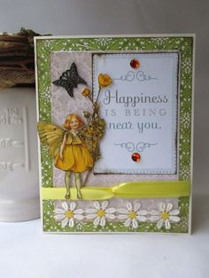 Handmade card vintage style woman birthday card flower fairies handmade card vintage style chic buttercup fairy by cicely mary barker thinking of you blank publicscrutiny Image collections