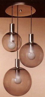 3 Pendent Light globes 8 For $459.60 there seems to be an option to get a brushed nickel finish rather than chrome, and clear glass rather than smoke glass. The globes are 8, 10 and 12 inch diameter and wattage is 100, 150 and 200.
