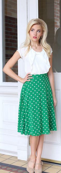 Green Polka Dot Skirt at Modest Pop. Missionaries get a 15% discount!