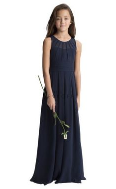 704acb1c337 Style 116502 from Bill Levkoff is a long sleeveless chiffon junior  bridesmaid dress with a keyhole back. Junior version of bridesmaid style