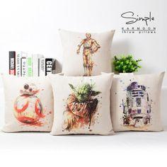 Star Wars Cushion Covers Hand Paintings - Yoda C3PO R2D2 BB8 Cushion Cover. Star Wars Lover Gifts Ideas For Women/Men/Girls/Boys/Kids. Star Wars Gift Ideas. Star Wars Throw Pillow Cushion Covers Cases. #StarWarsLoverGifts #StarWarsGiftIdeas #YodaGiftIdeas #R2D2GiftIdeas #BB8GiftIdeas #C3POGiftIdeas