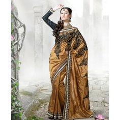 Golden shade art dupion silk saree