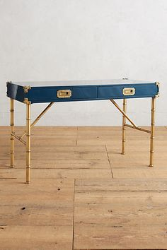 bamboo campaign style dark blue lacquer and gold desk anthropologie style furniture