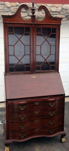 English Slant Front Desk Completed Furniture Desks Secretaries Victorian Antique 1900
