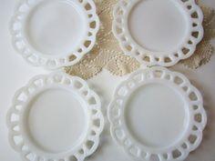Vintage Milk Glass Lacy Salad Plates Set of by mymilkglassshop, $28.50