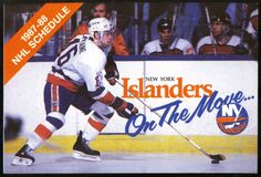 1987-88 NEW YORK ISLANDERS BUDWEISER BEER POCKET SCHEDULE LAFONTAINE ON COVER #Pocket #PocketSchedules