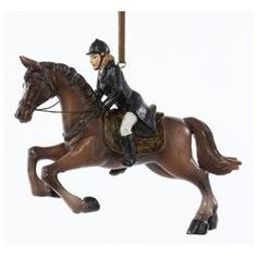 4 Equestrian Horse with Rider in Black Jacket Christmas Ornament