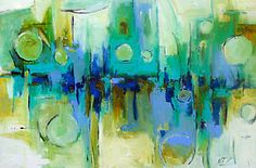 """Abstract Original Contemporary Blue Painting 24"""" x 36"""" by Elizabeth Chapman 