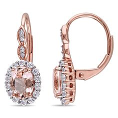 Shop for Miadora Rose Gold Oval-cut Morganite White Topaz and Diamond Accent Halo Leverback Earrings - Pink. Get free delivery On EVERYTHING* Overstock - Your Online Jewelry Destination! Topaz Gemstone, Gemstone Earrings, Drop Earrings, White Topaz, Halo Diamond, Diamond Clarity, Vintage Earrings, Round Diamonds, White Diamonds