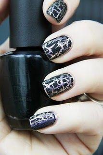 OPI Black Shatter Nail Polish. I'm wearing red base with black crackle right now! *Ü*