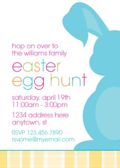 Easter Egg Hunt Invitation- could also be modified for an Easter Egg Decorating Party or an Easter Brunch