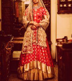 Pink And Beige Zardozi Banarasi #Silk #Lehenga #Set