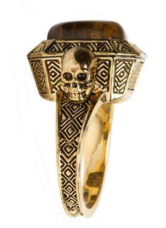 Skull Tiger's Eye Ring