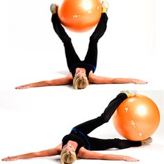 Trainers Reveal: The Best Abs Exercises of All Time (pictured here-supine oblique ball twist)