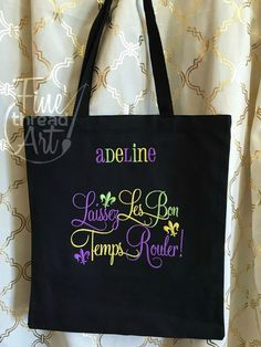 Mardi Gras Monogram Tote Bag for Parade and Beads by finethreadart