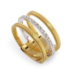 MARCO BICEGO Masai Diamond Ring  18K yellow gold three strand Masai diamond ring featuring 17 round brilliant cut diamonds weighing .13 ctw.