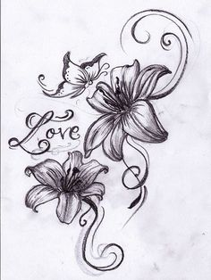 Butterfly n Lilies Tattoo Design