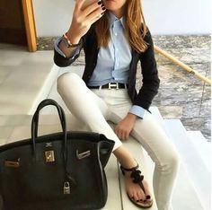 Blazer, chambray, white pants
