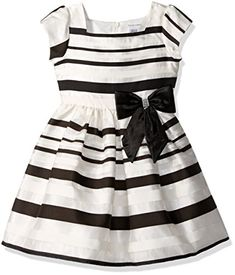 Sweet Heart Rose Little Girls Organza Stripe Special Occasion Dress with Bow Detail IvoryBlack 6x ** Check out this great product.