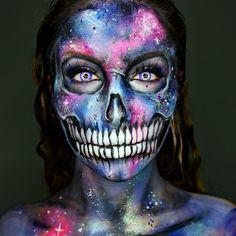 """Ellie H-M on Instagram: """"Galaxy Skull Using @mehronmakeup Paradise Paints, @jazzy_glitter_shop Amazing glitters! And @camoeyes Contacts"""""""